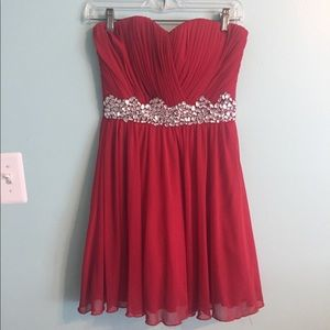 Short Bright Red Strapless Homecoming/Prom dress